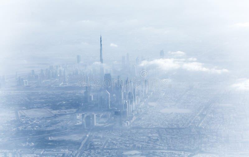 Dubai downtown in fog stock image