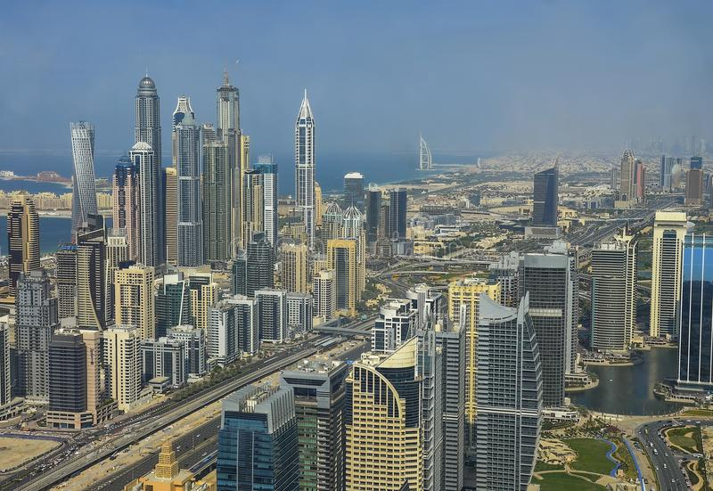 Dubai downtown morning scene. Top view from above royalty free stock photography
