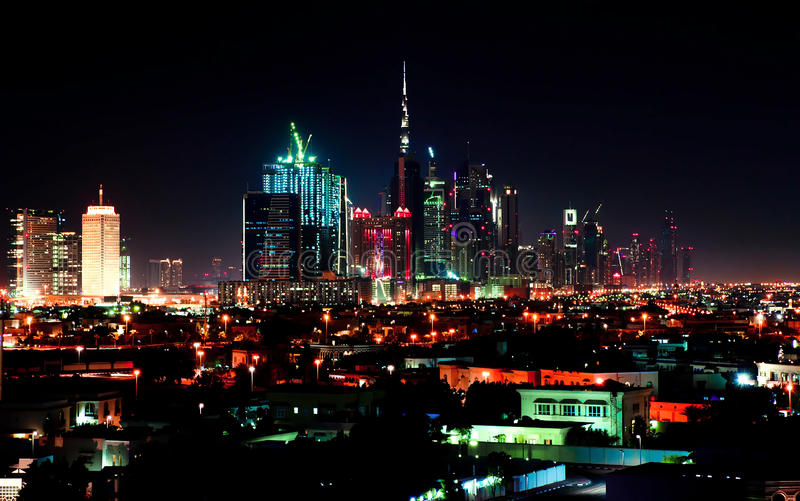 Download Dubai downtown night scene stock photo. Image of roofs - 25222458
