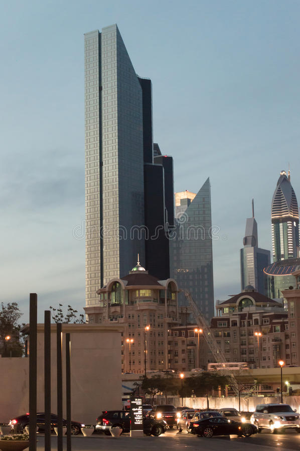 Dubai downtown at night stock photos