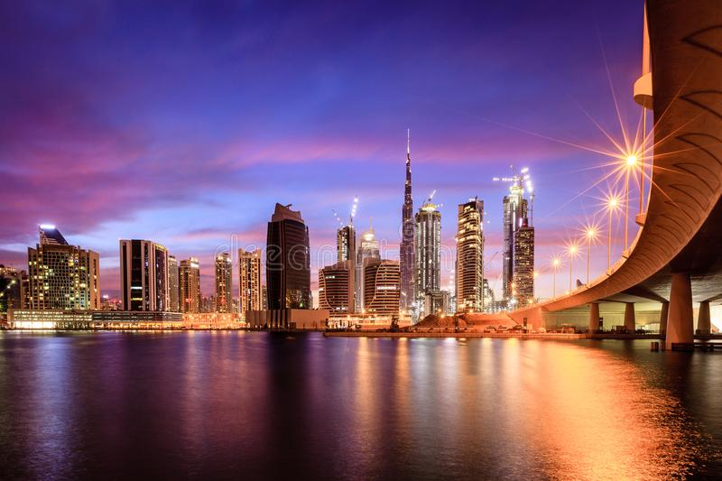 Dubai downtown skyline. View of Dubai downtown skyline at night stock photo