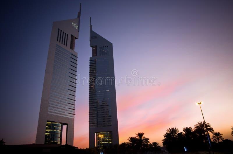 Dubai Emirates Towers. Emirates Towers in the morning light in Dubai stock image