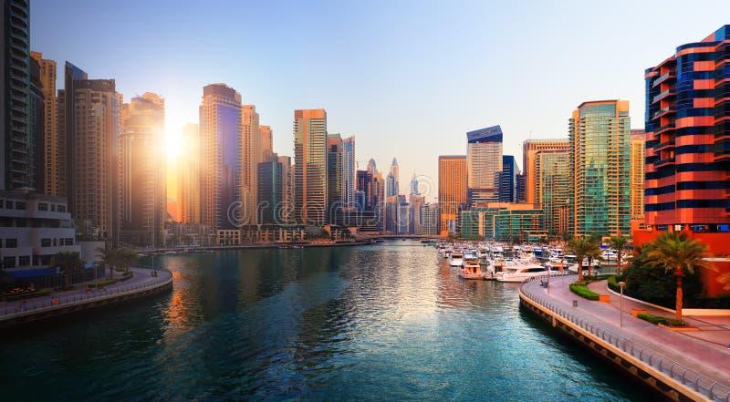 Dubai evening skyline stock photo