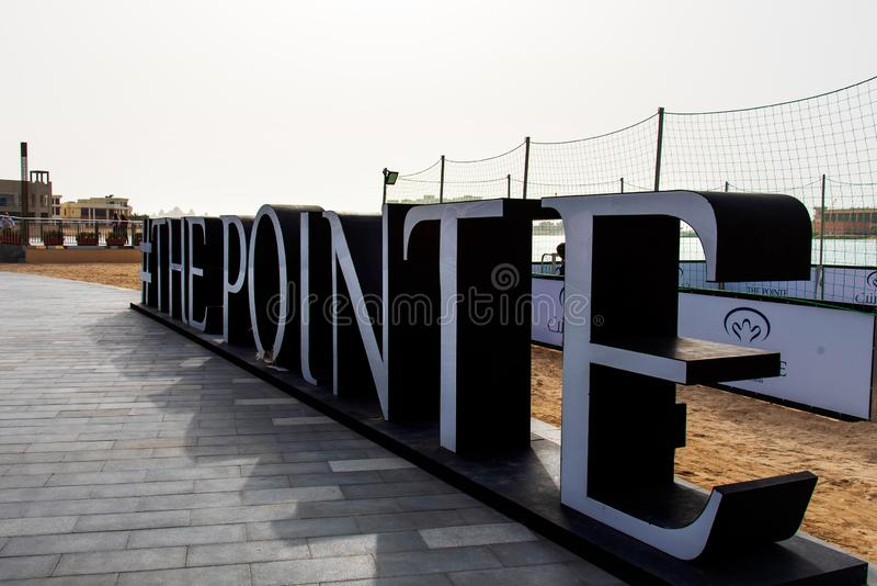 Dubai Förenade Arabemiraten - Januari 25, 2019: Destinationen för Pointe strandför äta middag och underhållning på gömma i handfl royaltyfri bild