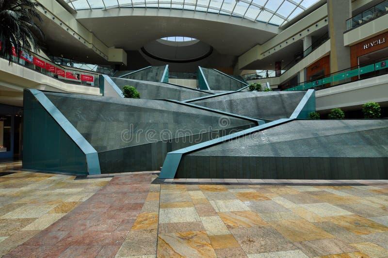 Dubai Festival City Mall waterfalls empty ramadam royalty free stock photos