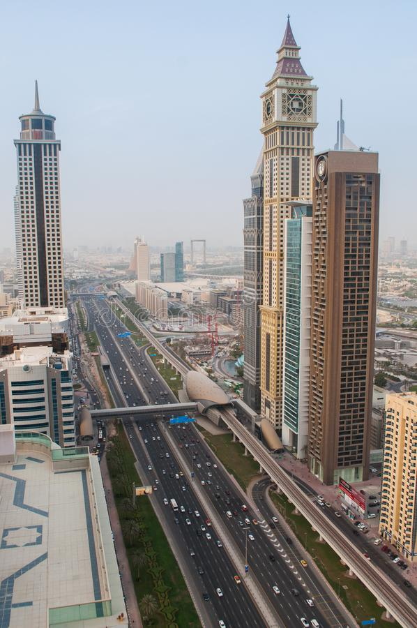 View from above on the towers from Sheikh Zayed Road in Dubai, UAE royalty free stock images