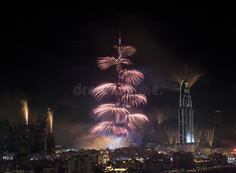Dubai fyrverkerier royaltyfria foton