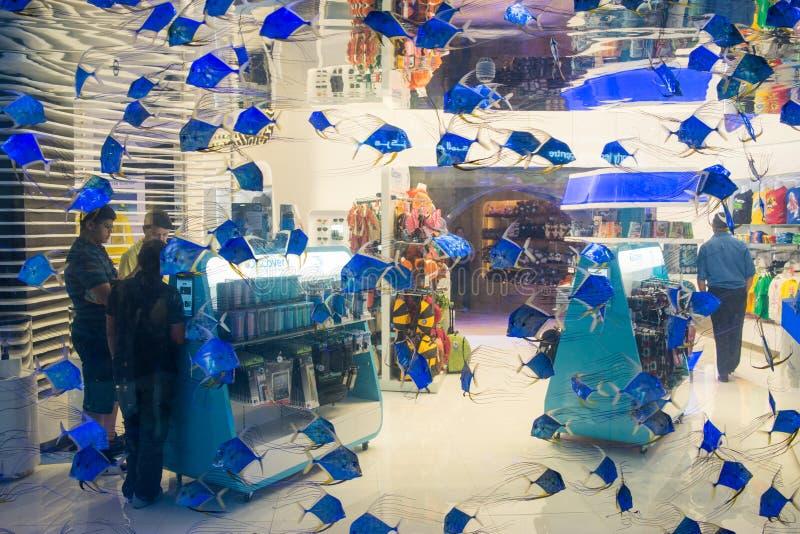 Dubai galleriaköpcentrum inom avdelningssikt arkivbilder