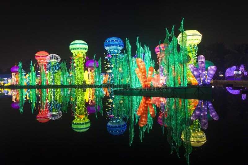 Download Dubai Garden Glow Editorial Image. Image Of Theme, Illuminated    85860295