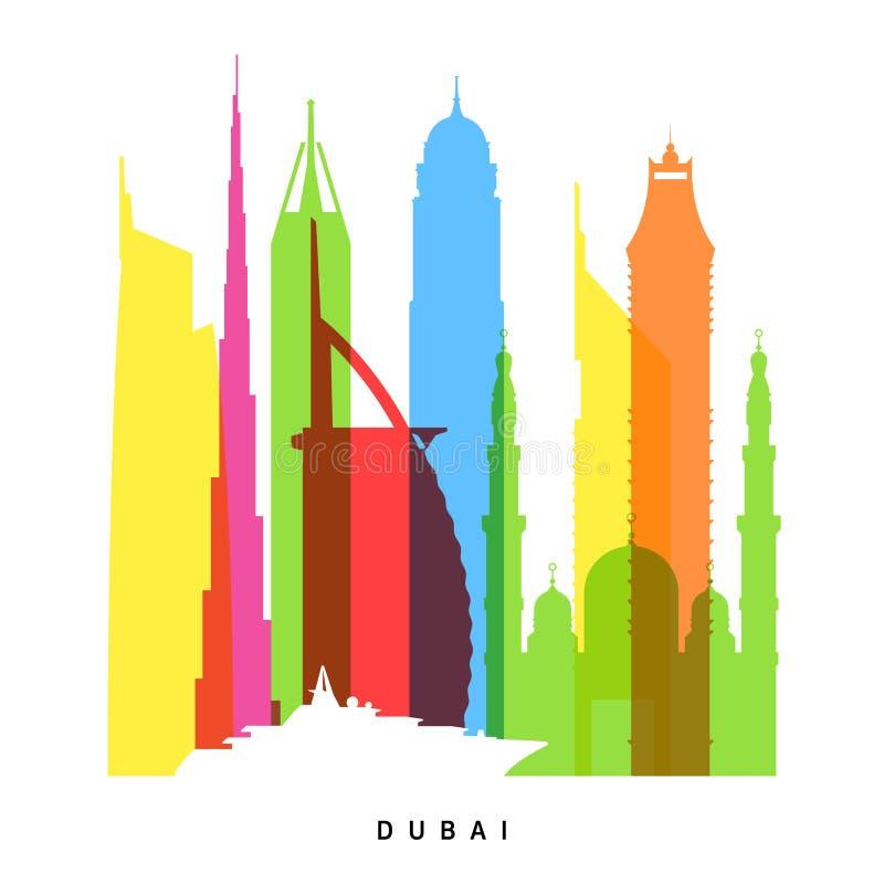 Dubai gränsmärken royaltyfri illustrationer