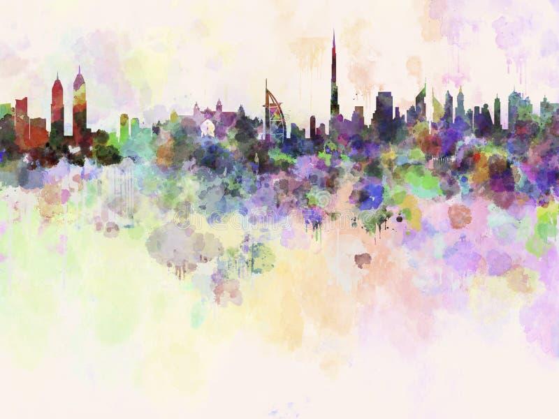 Dubai horisont i vattenfärgbakgrund stock illustrationer