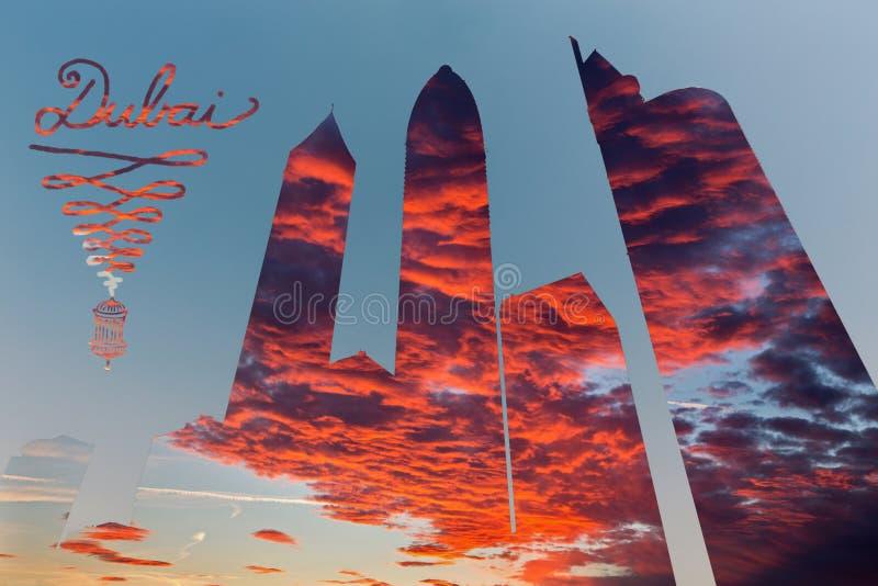 Dubai - illustration- och pohtomontagen av skyskrapor och aftoncloudscape fotografering för bildbyråer