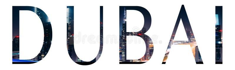 Dubai image inside text stock photos