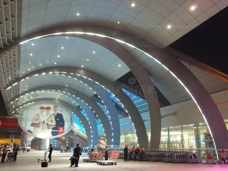 Dubai International lotnisko w UAE fotografia stock