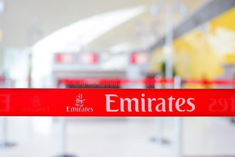 Dubai International Lotniskowy wnętrze, emirat linie lotnicze obraz stock