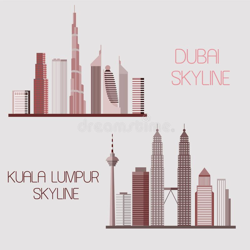 Dubai and Kuala Lumpur skylines. Vector illustration. Dubai and Kuala Lumpur skylines isolated on the grey background. Vector illustration stock illustration