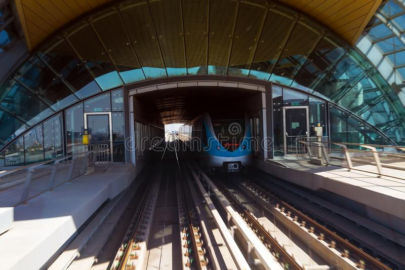 Dubai Lines Metro construction automated train stock photography