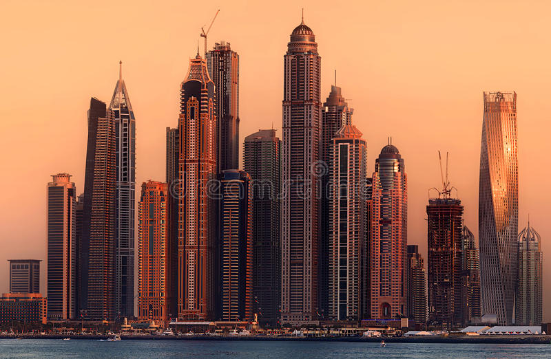 Download Dubai Marina bay, UAE stock photo. Image of holiday, industrial - 81033494