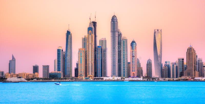 Dubai Marina at blue hour, Dubai, UAEuae stock images