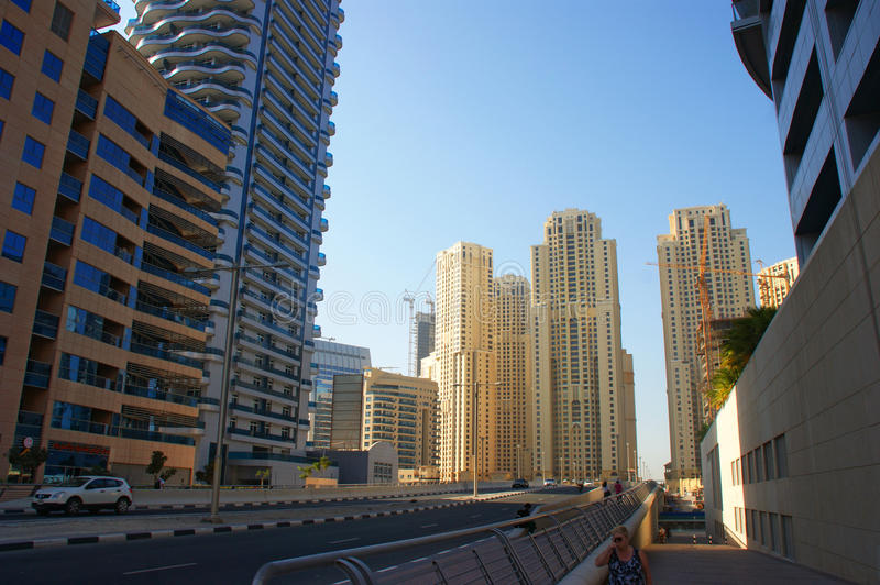 Dubai Marina. Is a district in the heart of what has become known as new Dubai in Dubai, United Arab Emirates royalty free stock images