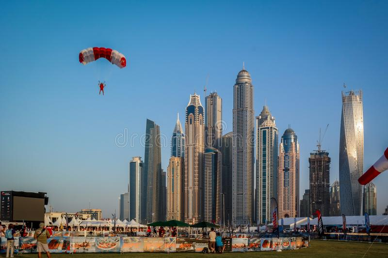Dubai Marina epic towers view and architecture from skydive Dubai stock photos