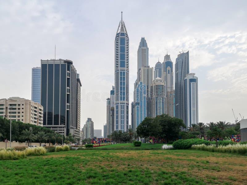 Dubai Marina epic towers view - Dubai skyline view in Dubai Media City stock images
