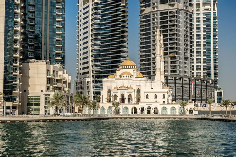 Dubai marina i UAE royaltyfri fotografi