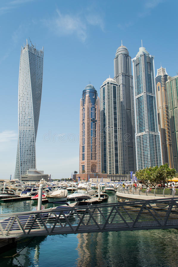 Dubai Marina and Infinity tower stock image
