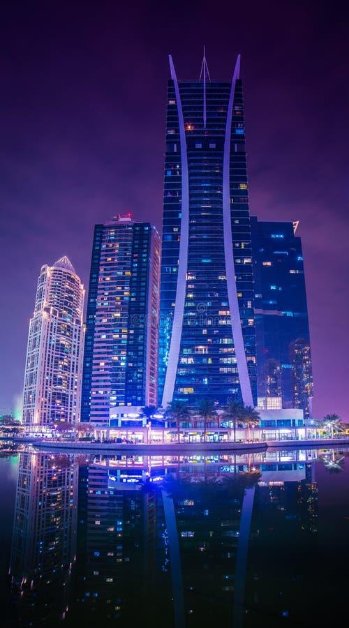 Dubai Marina and JLT. Dubai Marina JLT hotels and buildings background royalty free stock photography