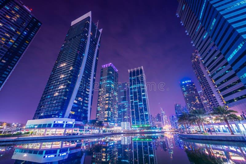 Dubai Marina and JLT. Dubai Marina JLT hotels and buildings background royalty free stock photos