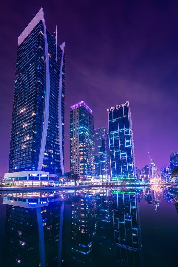 Dubai Marina and JLT. Dubai Marina JLT hotels and buildings background royalty free stock photo