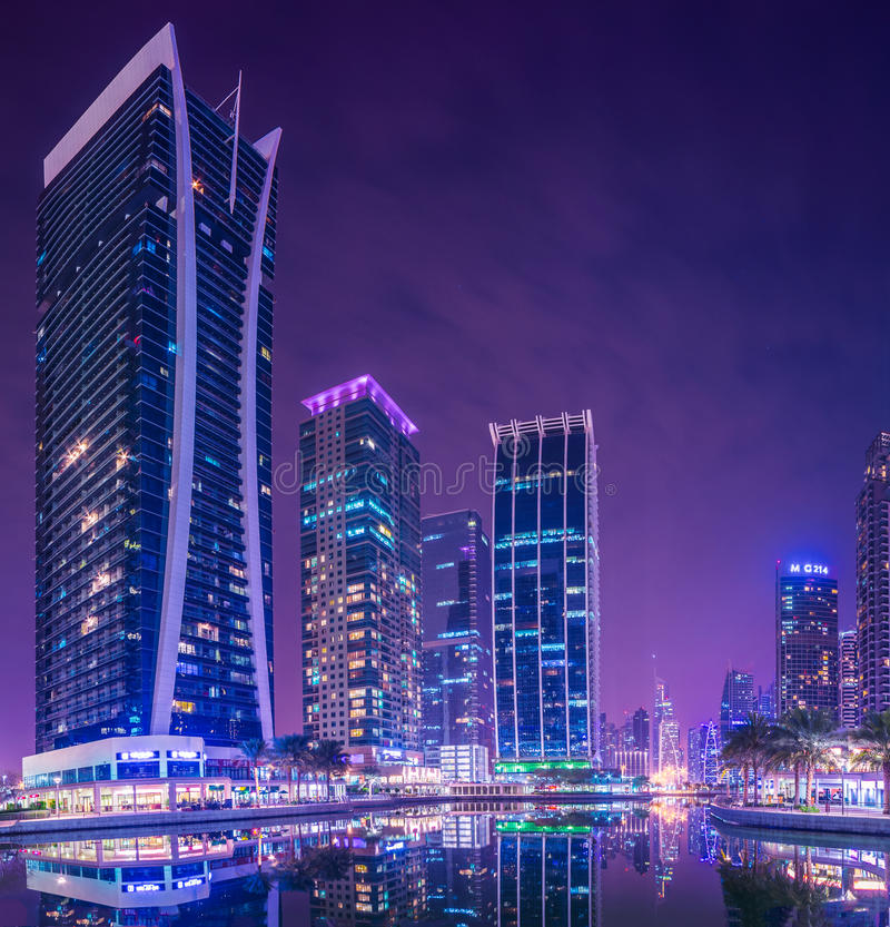 Dubai Marina and JLT. Dubai Marina JLT hotels and towers background stock photos