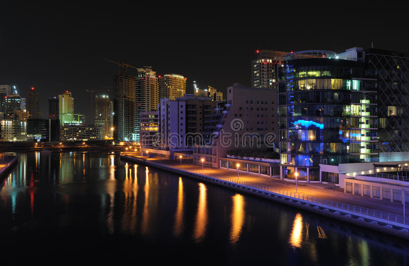 Download Dubai Marina at night stock photo. Image of skyscrapers - 13129496