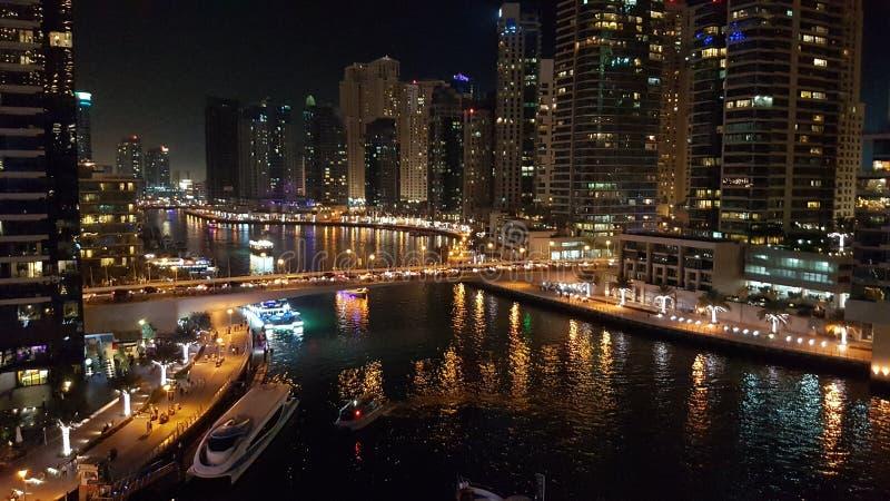 Dubai Marina by night. A panoramic view of Dubai Marina by night stock photo
