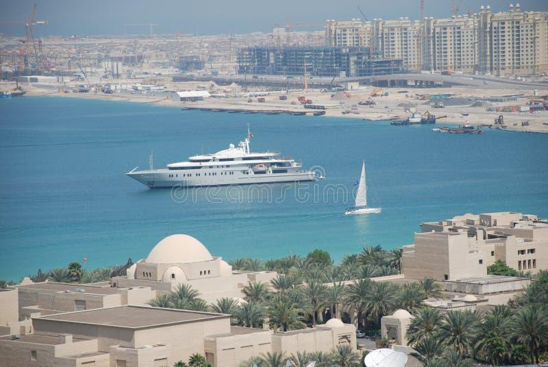 Dubai Marina and Palm Island royalty free stock photography