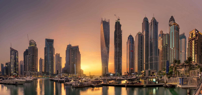 Dubai marina Panoramic skyline view with Golden Sunset royalty free stock photography