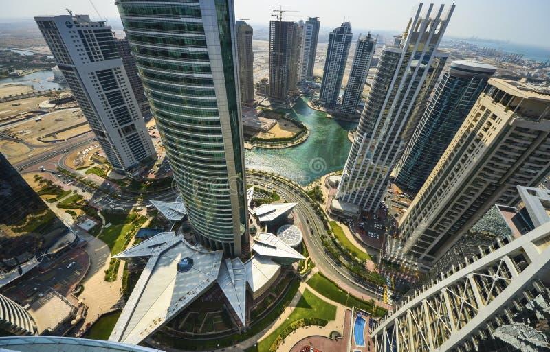 Dubai Marina Panoramic View arkivbilder
