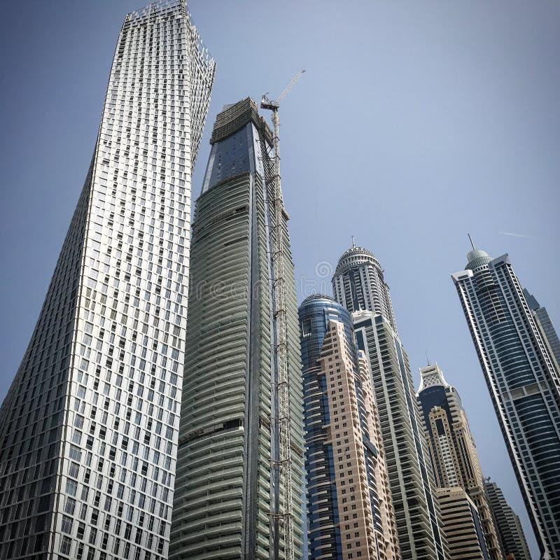 Dubai Marina sky scrapers. Sky scrapers Dubai Marina architecture United Arab Emirates UAE skyline royalty free stock image