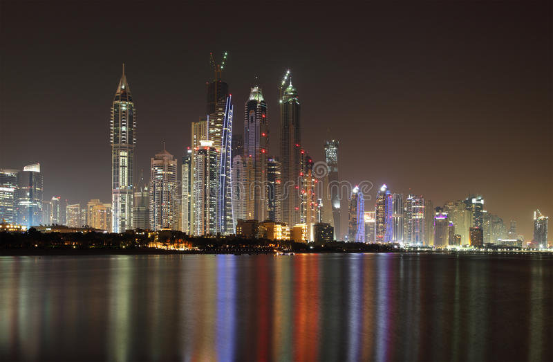 Dubai Marina skyline at night stock photography