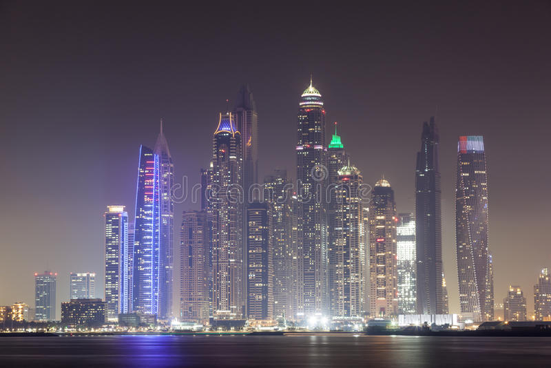 Dubai Marina Skyscrapers. Illuminated at night. United Arab Emirates, Middle East royalty free stock photos