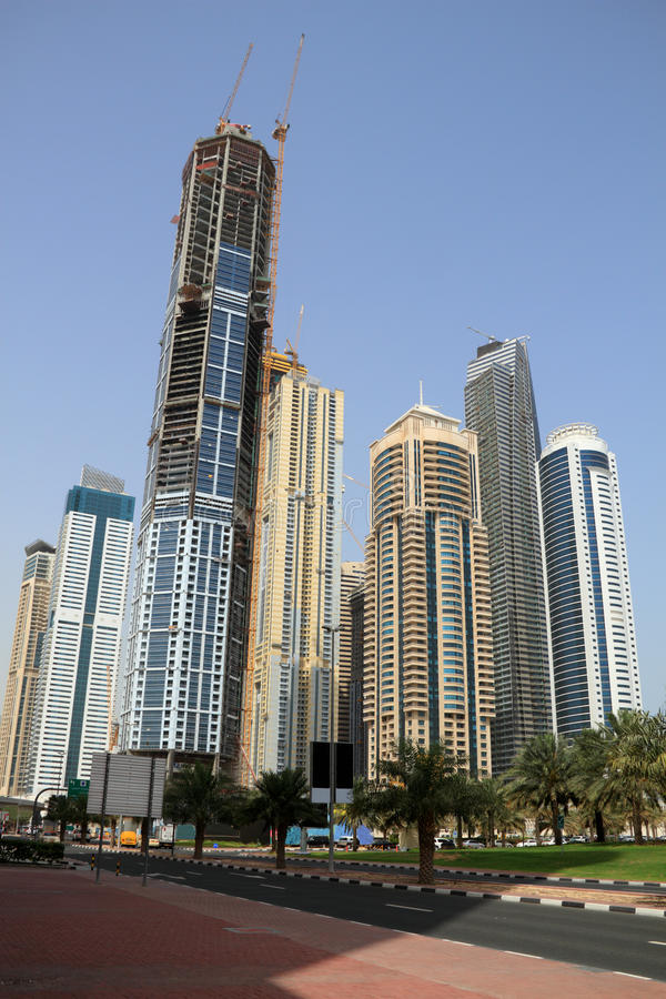 Download Dubai Marina Skyscrapers, United Arab Emirates Stock Image - Image of modern, towers: 14597451