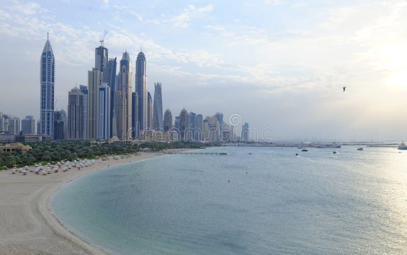 Dubai Marina at sunset. Scenic view of Dubai city skyline, Marina and beach at sunset, United Arab Emirates stock image