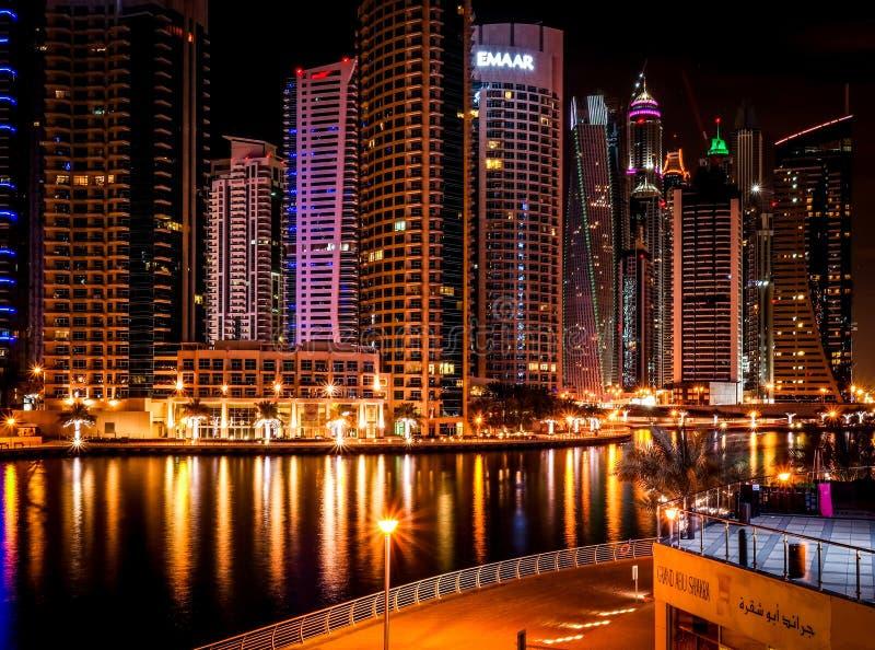 Dubai Marina top night view stock images