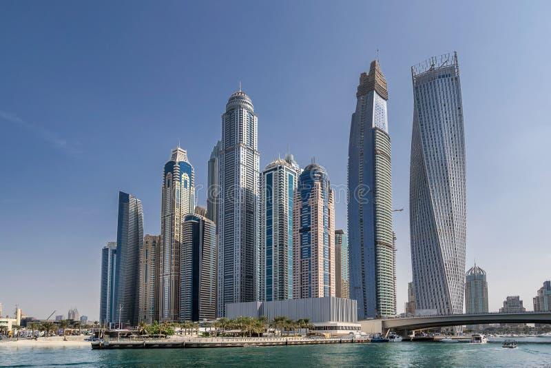 Dubai Marina in the UAE. Looking across the marina in Dubai royalty free stock photography