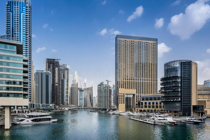 Dubai Marina in the UAE. Looking across the marina in Dubai royalty free stock photo