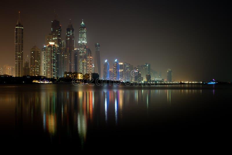 Dubai Marina Waterfront at night June 2012. Dubai Marina waterfront taken at night from Palm Jumeirah royalty free stock photos