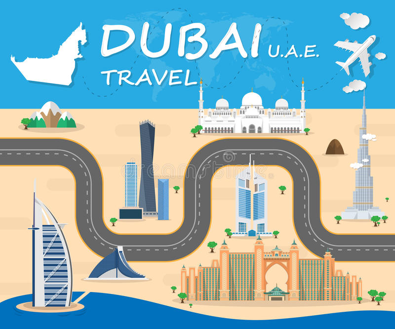 Dubai-Markstein-globaler Reise und Reise Infographic-Vektor Desi vektor abbildung