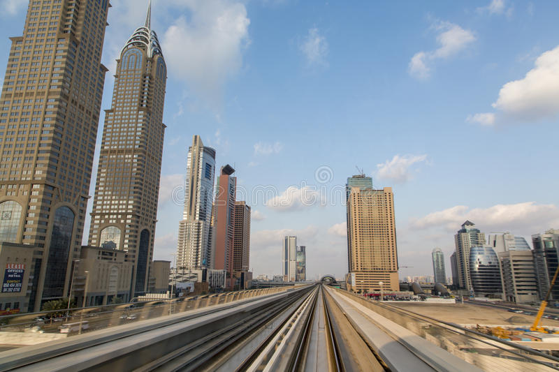 Dubai Metro. Metro train in Dubai. Dubai Metro as the world's longest fully automated metro network spanning at 75 kilometres stock photo