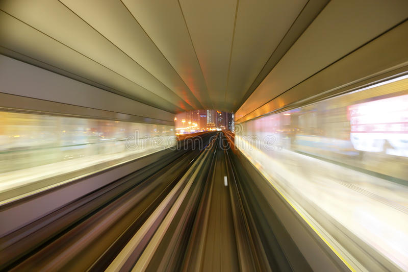 Dubai metro. Motion blur of high speed metro train royalty free stock image