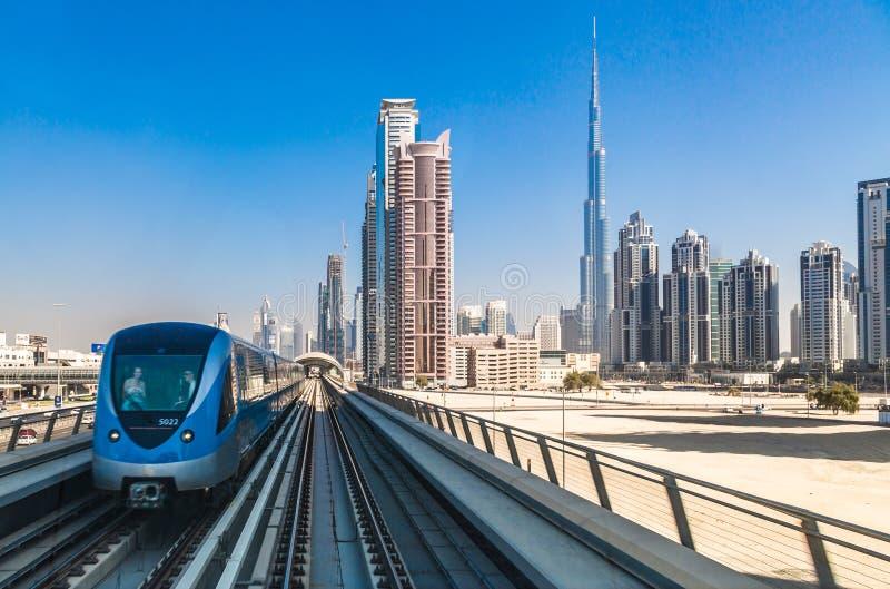 Dubai metro railway stock photo